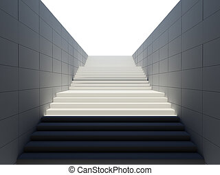 Empty white stairs in pedestrian subway. 3D rendering