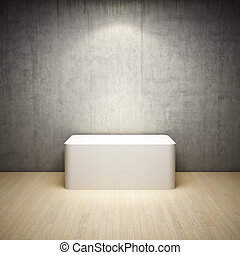 Empty white stand in interior room with concrete wall and...