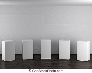 Empty white stands in interior