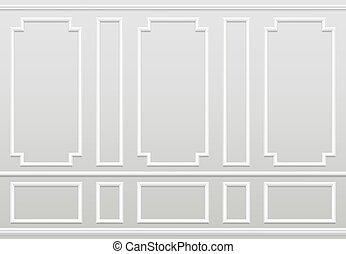 Empty white wall. Moulding panels classic home decoration. Living room vector interior