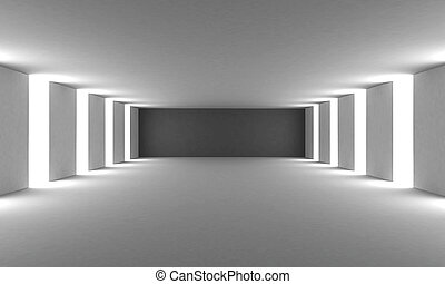 Empty white wall room. 3d illustration.