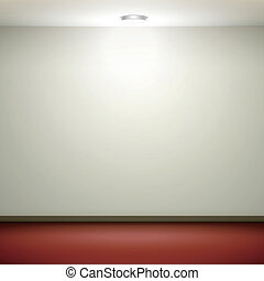 empty white wall with light and red floor