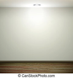 empty white wall with light and wooden floor