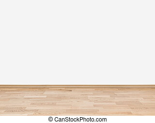 Empty white wall with wooden floor - Copyspace background...