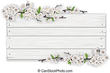 empty white wooden sign with blooming tree branch