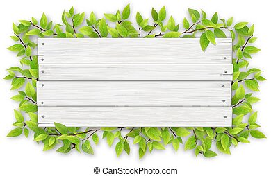 empty white wooden sign with tree branch
