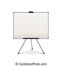 Empty whiteboard isolated on white vector