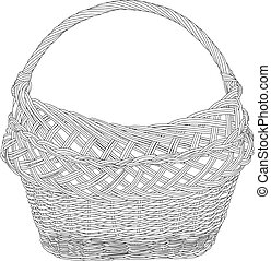 Empty wicker basket black silhouette vector illustration