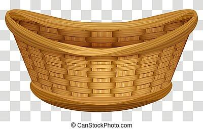 Empty wicker basket for flowers. Large bird's nest for eggs
