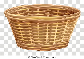 Empty wicker basket for flowers. Nest on transparent background. Isolated vector illustration