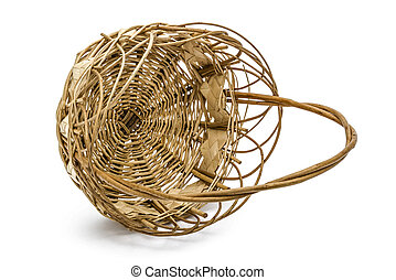 Empty wicker basket, isolated on white background