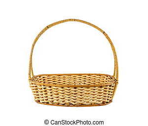Empty wicker basket isolated on white background