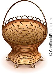 Empty Wicker flower basket with handle vector illustration