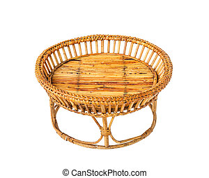 Empty wicker food tray isolated on white background