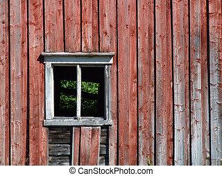 Empty window in old building