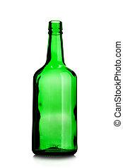 Empty wine bottle of green glass