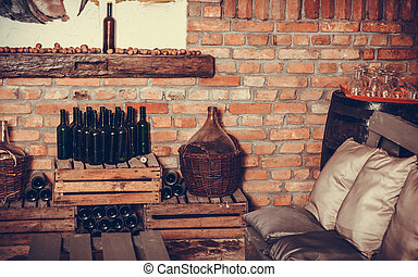 Empty wine bottles in cellar