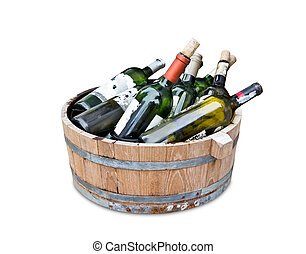 empty wine bottles in wood tank with clipping path