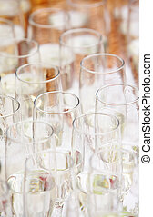 Empty wine glases. - Pattern of martini glases. close-up...