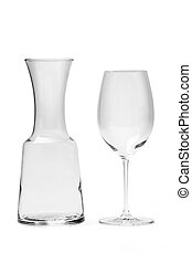 Empty Wine Glass And Carafe - Photo With Clipping Path