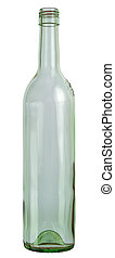 Empty wine glass bottle isolated on white background. 2 images stitched - original size, DFF image, Adobe RGB