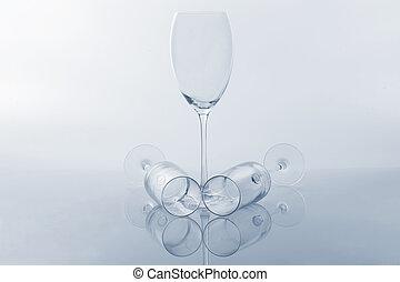 empty wine glass on a light background