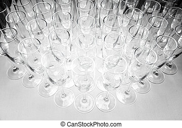 Empty wine glasses on the table