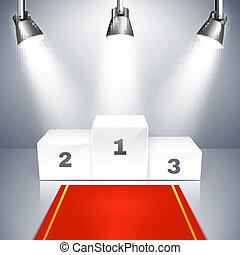 Empty winners podium with spotlights