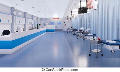 Empty with no people interior of emergency room - Interior...