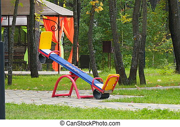 Empty, without children, children's swings in Park