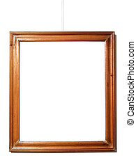 Empty wood frame hanging on white wall