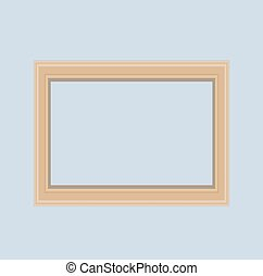 Empty wood frame on gray wall. Vector Illustration