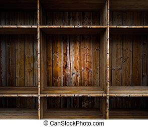 Empty wood shelf - 3D empty wood shelf: grunge interior for...