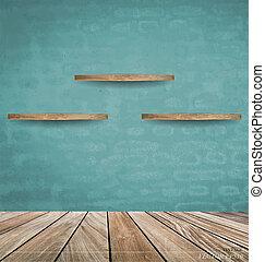 Empty wood shelf on blue brick wall. Vector illustration.