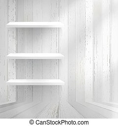 Empty wood shelf on old wall. + EPS10