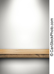 empty wood shelf on white wall