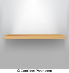 Empty Wood Shelf, Vector Illustration