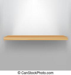 Empty Wood Shelf, Vector Illustration