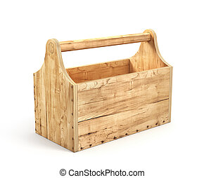 Empty wood toolbox on a white background. 3d illustration