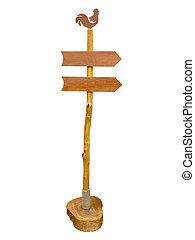 Empty wooden arrow sign post or road signpost isolated over white