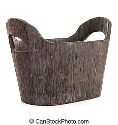Empty wooden basket over white background