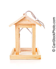 Empty wooden bird feeder house