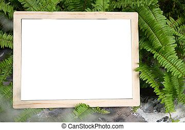 wooden blackboard or chalkboard
