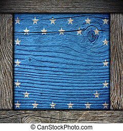 empty wooden board with american flag colors with frame