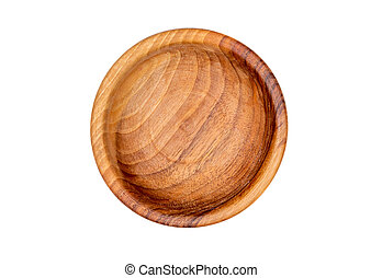 Empty wooden bowl isolated on white background.