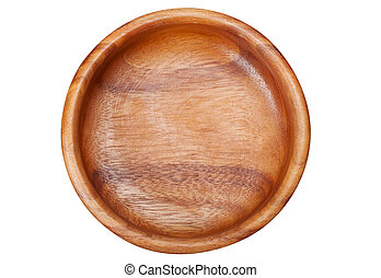 Empty Wooden Bowl, isolated, top view
