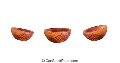 Empty wooden bowls isolated on white background.