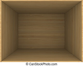 empty wooden box. 3D image