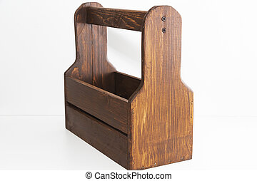 Empty wooden box. Made of pine, on a light white background.