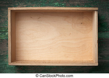 Empty wooden box on background